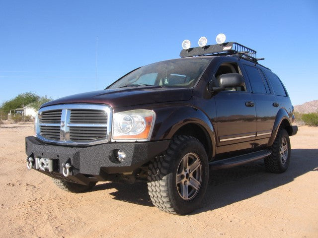 2004-2006 Dodge Durango Front Base Bumper - Iron Bull Bumpers - FRONT IRON BUMPER - Metal bumper for heavy duty trucks Perfect for CITY/OFF-ROAD applications with Light Buckets and Winch Mount included