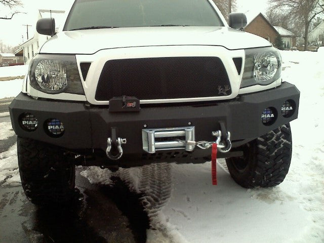 2005-2011 Toyota Tacoma Front Base Bumper - Iron Bull Bumpers - FRONT IRON BUMPER - Metal bumper for heavy duty trucks Perfect for CITY/OFF-ROAD applications with Light Buckets and Winch Mount included