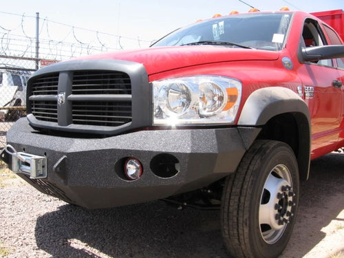 2006-2009 Dodge 4500/5500 Front Base Bumper With Fender Flare Adapters - Iron Bull Bumpers - FRONT IRON BUMPER - Metal bumper for heavy duty trucks Perfect for CITY/OFF-ROAD applications with Light Buckets and Winch Mount included