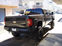 2007-2014 Chevrolet 2500/3500 Rear Base Bumper With Sensor Holes - Iron Bull Bumpers - REAR IRON BUMPER - Metal bumper for heavy duty trucks Perfect for CITY/OFF-ROAD applications with Light Buckets and Winch Mount included