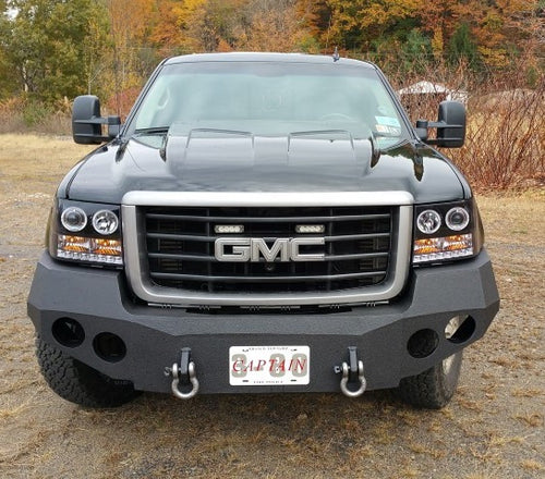 2007-2014 GMC 2500/3500 Front Base Bumper - Iron Bull Bumpers - FRONT IRON BUMPER - Metal bumper for heavy duty trucks Perfect for CITY/OFF-ROAD applications with Light Buckets and Winch Mount included