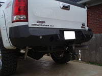 2007-2014 GMC 2500/3500 Rear Base Bumper With Sensor Holes - Iron Bull Bumpers - REAR IRON BUMPER - Metal bumper for heavy duty trucks Perfect for CITY/OFF-ROAD applications with Light Buckets and Winch Mount included