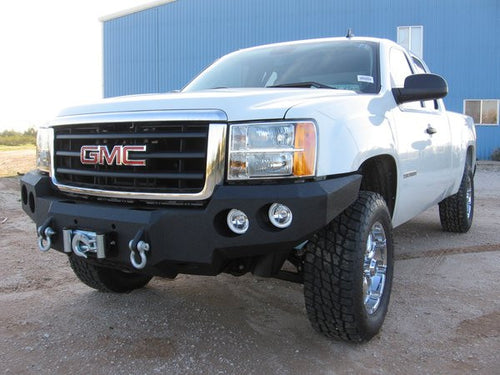 2007-2013 GMC 1500 Front Base Bumper - Iron Bull Bumpers - FRONT IRON BUMPER - Metal bumper for heavy duty trucks Perfect for CITY/OFF-ROAD applications with Light Buckets and Winch Mount included