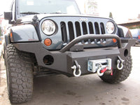 2007-2017 Jeep JK Wrangler Front Base Bumper - Iron Bull Bumpers - FRONT IRON BUMPER - Metal bumper for heavy duty trucks Perfect for CITY/OFF-ROAD applications with Light Buckets and Winch Mount included