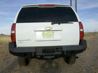2007-2014 Chevrolet Suburban Rear Base Bumper With Sensor Holes - Iron Bull Bumpers - REAR IRON BUMPER - Metal bumper for heavy duty trucks Perfect for CITY/OFF-ROAD applications with Light Buckets and Winch Mount included