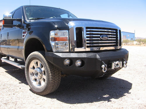 2008-2010 Ford F-250/350 Front Base Bumper - Iron Bull Bumpers - FRONT IRON BUMPER - Metal bumper for heavy duty trucks Perfect for CITY/OFF-ROAD applications with Light Buckets and Winch Mount included