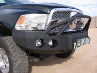2009-2012 Dodge 1500 Front Base Bumper - Iron Bull Bumpers - FRONT IRON BUMPER - Metal bumper for heavy duty trucks Perfect for CITY/OFF-ROAD applications with Light Buckets and Winch Mount included