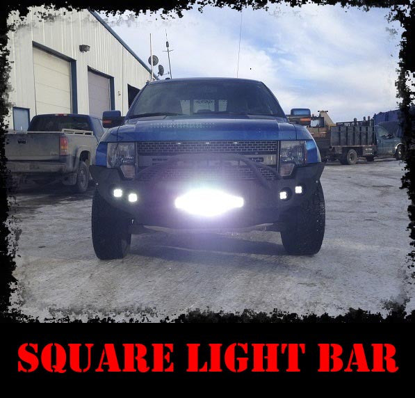 "Add-on 12"" or 20"" Light Bar Plate - Iron Bull Bumpers - ADD-ON - Metal bumper for heavy duty trucks Perfect for CITY/OFF-ROAD applications with Light Buckets and Winch Mount included"