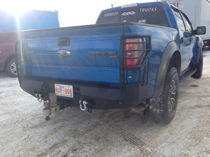 2010-2014 Ford Raptor Rear Base Bumper With Sensor Holes - Iron Bull Bumpers - REAR IRON BUMPER - Metal bumper for heavy duty trucks Perfect for CITY/OFF-ROAD applications with Light Buckets and Winch Mount included