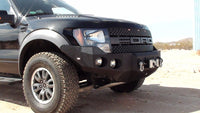 2010-2014 Ford Raptor Front Base Bumper - Iron Bull Bumpers - FRONT IRON BUMPER - Metal bumper for heavy duty trucks Perfect for CITY/OFF-ROAD applications with Light Buckets and Winch Mount included