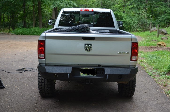 2009-2017 Dodge 1500 Rear Base Bumper With Sensor Holes - Iron Bull Bumpers - REAR IRON BUMPER - Metal bumper for heavy duty trucks Perfect for CITY/OFF-ROAD applications with Light Buckets and Winch Mount included