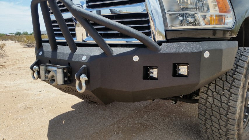 2010-2019 Dodge 2500/3500 Front Base Bumper With Sensor Holes - Iron Bull Bumpers - FRONT IRON BUMPER - Metal bumper for heavy duty trucks Perfect for CITY/OFF-ROAD applications with Light Buckets and Winch Mount included