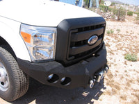 2011-2016 Ford F-250/350 Front Base Bumper - Iron Bull Bumpers - FRONT IRON BUMPER - Metal bumper for heavy duty trucks Perfect for CITY/OFF-ROAD applications with Light Buckets and Winch Mount included