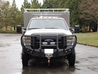 2011-2016 Ford F-450/550 Front Base Bumper With Fender Flare Adapters - Iron Bull Bumpers - FRONT IRON BUMPER - Metal bumper for heavy duty trucks Perfect for CITY/OFF-ROAD applications with Light Buckets and Winch Mount included