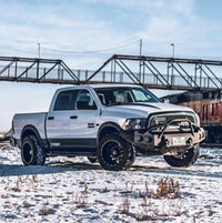 2013-2018 Dodge 1500/Sport Front Base Bumper With Sensor Holes - Iron Bull Bumpers - FRONT IRON BUMPER - Metal bumper for heavy duty trucks Perfect for CITY/OFF-ROAD applications with Light Buckets and Winch Mount included
