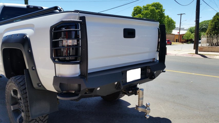 2015-2019 GMC 2500/3500 Rear Base Bumper With Sensor Holes - Iron Bull Bumpers - REAR IRON BUMPER - Metal bumper for heavy duty trucks Perfect for CITY/OFF-ROAD applications with Light Buckets and Winch Mount included