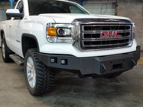 2014-2015 GMC 1500 Front Base Bumper With Sensor Holes - Iron Bull Bumpers - FRONT IRON BUMPER - Metal bumper for heavy duty trucks Perfect for CITY/OFF-ROAD applications with Light Buckets and Winch Mount included