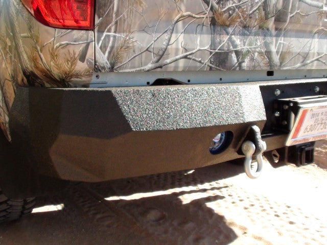 2014-2020 Toyota Tundra Rear Base Bumper With Sensor Holes - Iron Bull Bumpers - REAR IRON BUMPER - Metal bumper for heavy duty trucks Perfect for CITY/OFF-ROAD applications with Light Buckets and Winch Mount included