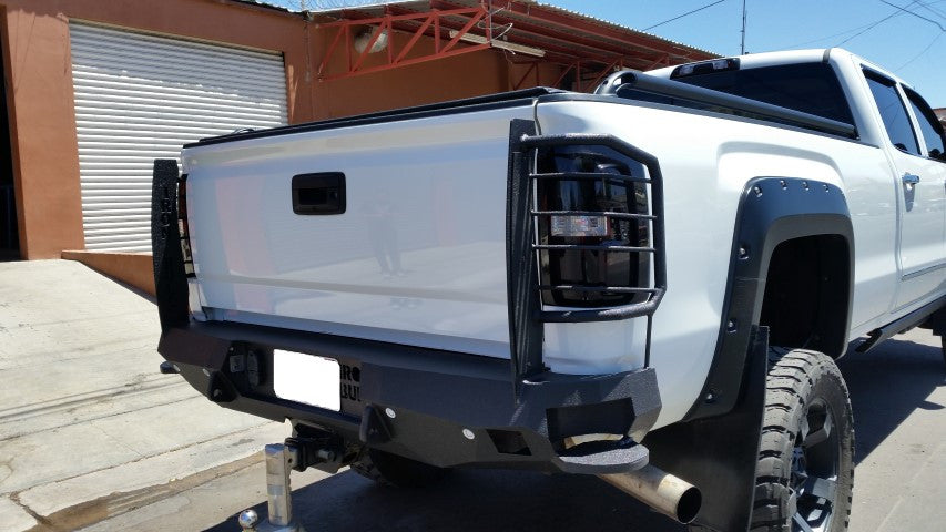 2014-2018 GMC 1500 Rear Base Bumper Without Sensor Holes - Iron Bull Bumpers - REAR IRON BUMPER - Metal bumper for heavy duty trucks Perfect for CITY/OFF-ROAD applications with Light Buckets and Winch Mount included