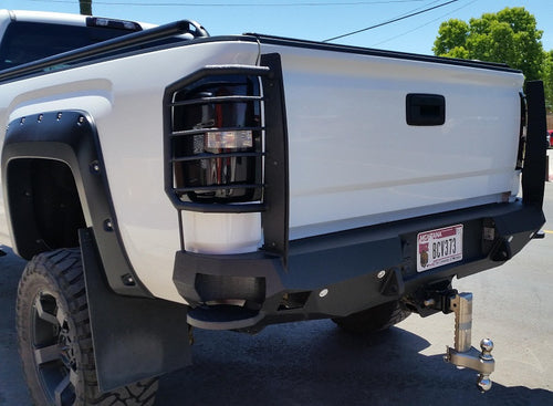 2014-2018 GMC 1500 Rear Base Bumper With Sensor Holes - Iron Bull Bumpers - REAR IRON BUMPER - Metal bumper for heavy duty trucks Perfect for CITY/OFF-ROAD applications with Light Buckets and Winch Mount included