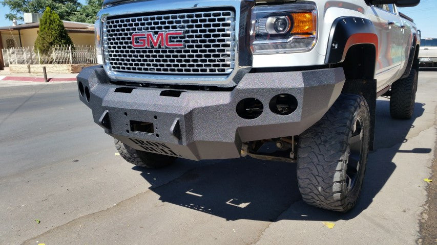 2015-2019 GMC 2500/3500 Front Base Bumper With Sensor Holes - Iron Bull Bumpers - FRONT IRON BUMPER - Metal bumper for heavy duty trucks Perfect for CITY/OFF-ROAD applications with Light Buckets and Winch Mount included