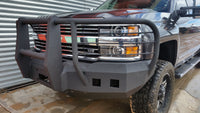 2015-2019 Chevrolet 2500/3500 Front Base Bumper With Sensor Holes - Iron Bull Bumpers - FRONT IRON BUMPER - Metal bumper for heavy duty trucks Perfect for CITY/OFF-ROAD applications with Light Buckets and Winch Mount included