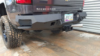 2014-2018 Chevrolet 1500 Rear Base Bumper Without Sensor Holes - Iron Bull Bumpers - REAR IRON BUMPER - Metal bumper for heavy duty trucks Perfect for CITY/OFF-ROAD applications with Light Buckets and Winch Mount included