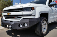 2016-2018 Chevrolet 1500 Front Base Bumper With Sensor Holes - Iron Bull Bumpers - FRONT IRON BUMPER - Metal bumper for heavy duty trucks Perfect for CITY/OFF-ROAD applications with Light Buckets and Winch Mount included