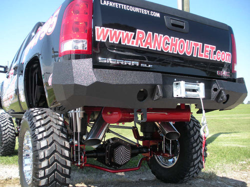 2007-2014 GMC 2500/3500 Rear Base Bumper Without Sensor Holes - Iron Bull Bumpers - REAR IRON BUMPER - Metal bumper for heavy duty trucks Perfect for CITY/OFF-ROAD applications with Light Buckets and Winch Mount included