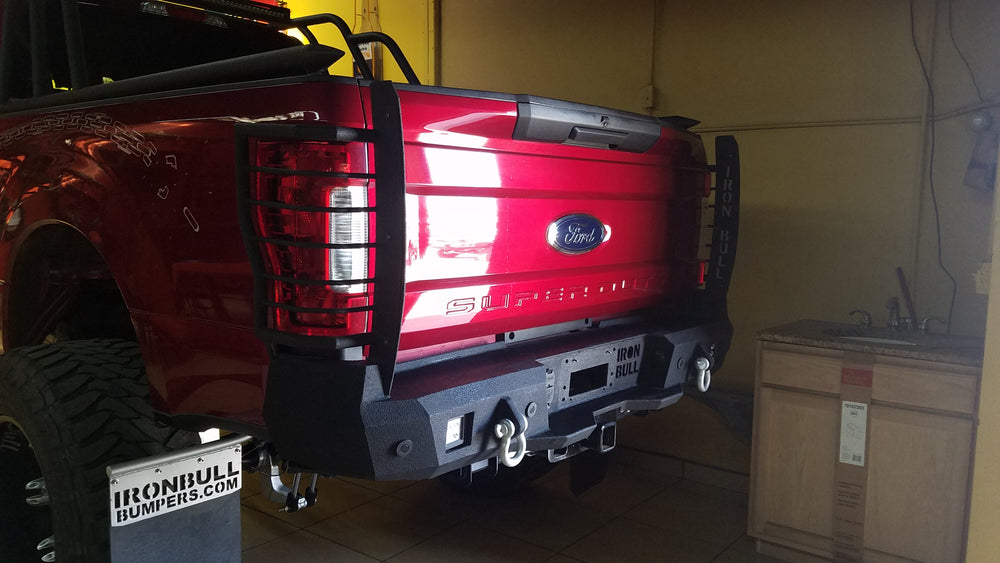 2017-2023 Ford F-250/350 Rear Base Bumper Without Sensor Holes - Iron Bull Bumpers - REAR IRON BUMPER - Metal bumper for heavy duty trucks Perfect for CITY/OFF-ROAD applications with Light Buckets and Winch Mount included