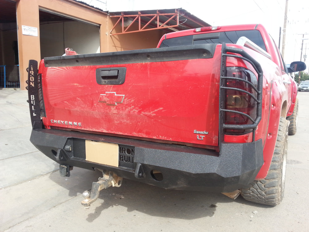2007-2013 Chevrolet 1500 Rear Base Bumper Without Sensor Holes - Iron Bull Bumpers