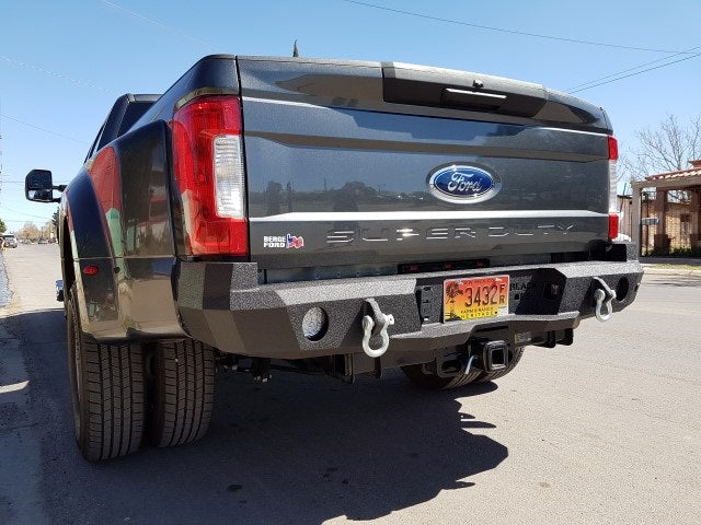 2017-2023 Ford F-450/550 Rear Base Bumper Without Sensor Holes - Iron Bull Bumpers - REAR IRON BUMPER - Metal bumper for heavy duty trucks Perfect for CITY/OFF-ROAD applications with Light Buckets and Winch Mount included