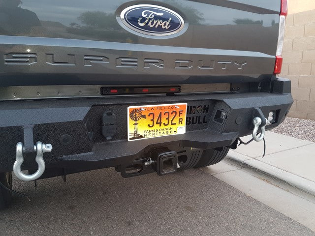 2017-2023 Ford F-250/350 Rear Base Bumper With Sensor Holes - Iron Bull Bumpers - REAR IRON BUMPER - Metal bumper for heavy duty trucks Perfect for CITY/OFF-ROAD applications with Light Buckets and Winch Mount included