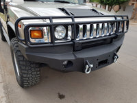 2003-2009 Hummer H2 Front Base Bumper - Iron Bull Bumpers - FRONT IRON BUMPER - Metal bumper for heavy duty trucks Perfect for CITY/OFF-ROAD applications with Light Buckets and Winch Mount included