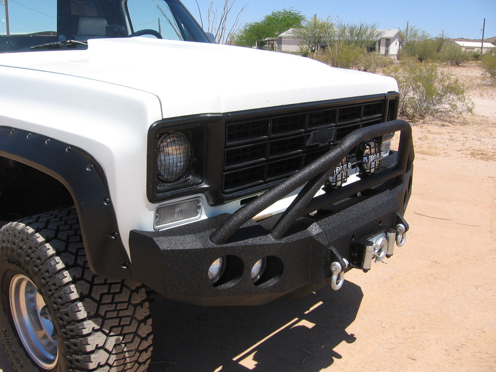 1973-1980 Chevrolet C10/C20/C30 Front Base Bumper - Iron Bull Bumpers - FRONT IRON BUMPER - Metal bumper for heavy duty trucks Perfect for CITY/OFF-ROAD applications with Light Buckets and Winch Mount included