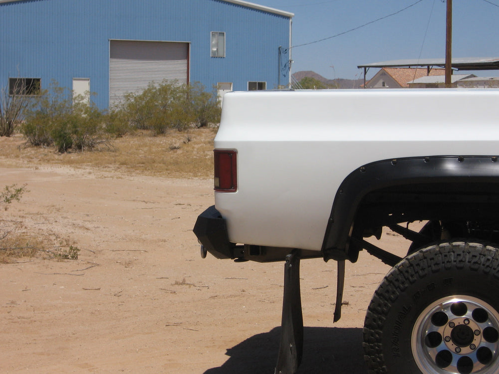 1981-1987 Chevrolet 1500 Rear Base Bumper - Iron Bull Bumpers - REAR IRON BUMPER - Metal bumper for heavy duty trucks Perfect for CITY/OFF-ROAD applications with Light Buckets and Winch Mount included