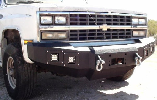 1981-1987 Chevrolet 1500 Front Base Bumper - Iron Bull Bumpers - FRONT IRON BUMPER - Metal bumper for heavy duty trucks Perfect for CITY/OFF-ROAD applications with Light Buckets and Winch Mount included