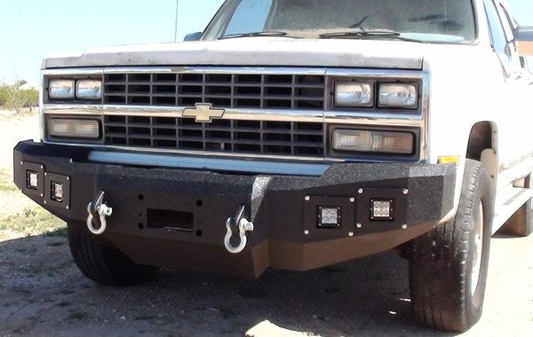 1981-1987 Chevrolet 2500/3500 Front Base Bumper - Iron Bull Bumpers - FRONT IRON BUMPER - Metal bumper for heavy duty trucks Perfect for CITY/OFF-ROAD applications with Light Buckets and Winch Mount included