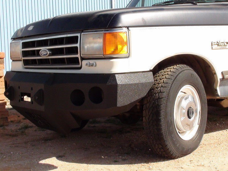 1987-1991 Ford Bronco Front Base Bumper - Iron Bull Bumpers - FRONT IRON BUMPER - Metal bumper for heavy duty trucks Perfect for CITY/OFF-ROAD applications with Light Buckets and Winch Mount included