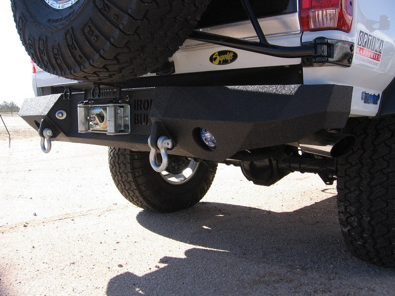1987-1996 Ford F-250/350 Rear Base Bumper - Iron Bull Bumpers - REAR IRON BUMPER - Metal bumper for heavy duty trucks Perfect for CITY/OFF-ROAD applications with Light Buckets and Winch Mount included