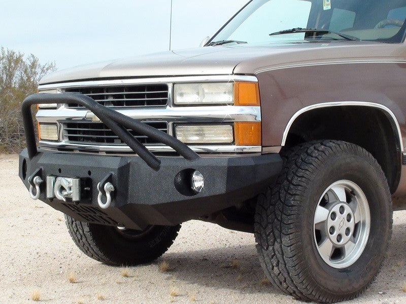 1992-2000 Chevrolet Tahoe/Suburban Front Base Bumper - Iron Bull Bumpers - FRONT IRON BUMPER - Metal bumper for heavy duty trucks Perfect for CITY/OFF-ROAD applications with Light Buckets and Winch Mount included