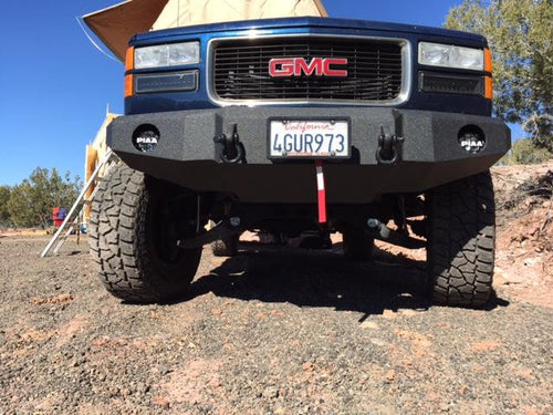 1988-2000 GMC 1500 Front Base Bumper - Iron Bull Bumpers - FRONT IRON BUMPER - Metal bumper for heavy duty trucks Perfect for CITY/OFF-ROAD applications with Light Buckets and Winch Mount included