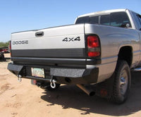 1994-2002 Dodge 2500/3500 Rear Base Bumper - Iron Bull Bumpers - REAR IRON BUMPER - Metal bumper for heavy duty trucks Perfect for CITY/OFF-ROAD applications with Light Buckets and Winch Mount included