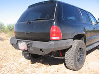 1997-2003 Dodge Durango Rear Base Bumper - Iron Bull Bumpers - REAR IRON BUMPER - Metal bumper for heavy duty trucks Perfect for CITY/OFF-ROAD applications with Light Buckets and Winch Mount included