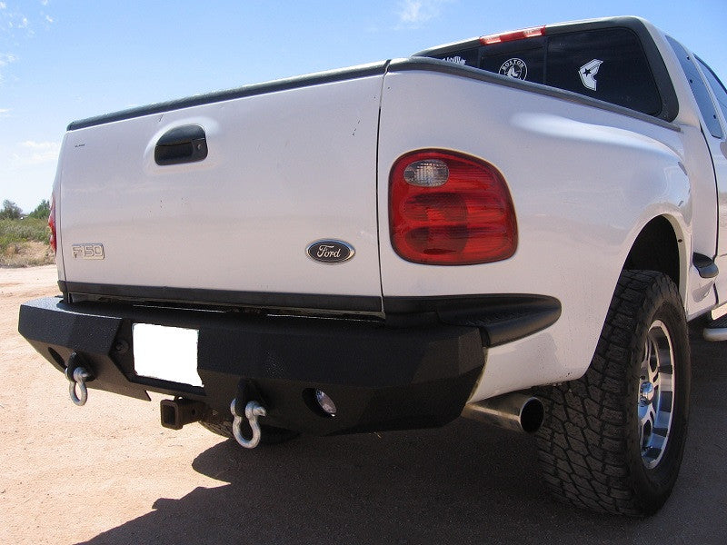 1997-2003 Ford F-150 Flareside Rear Base Bumper - Iron Bull Bumpers - REAR IRON BUMPER - Metal bumper for heavy duty trucks Perfect for CITY/OFF-ROAD applications with Light Buckets and Winch Mount included