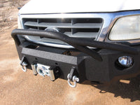 1997-2003 Ford F-150 Front Base Bumper - Iron Bull Bumpers - FRONT IRON BUMPER - Metal bumper for heavy duty trucks Perfect for CITY/OFF-ROAD applications with Light Buckets and Winch Mount included