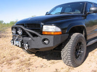 1997-2003 Dodge Durango Front Base Bumper - Iron Bull Bumpers - FRONT IRON BUMPER - Metal bumper for heavy duty trucks Perfect for CITY/OFF-ROAD applications with Light Buckets and Winch Mount included