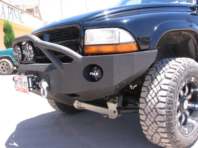 1997-2004 Dodge Dakota Front Base Bumper - Iron Bull Bumpers - FRONT IRON BUMPER - Metal bumper for heavy duty trucks Perfect for CITY/OFF-ROAD applications with Light Buckets and Winch Mount included