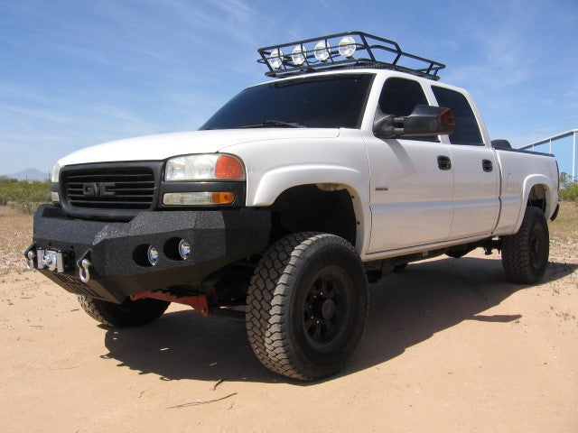 1999-2002 GMC 2500/3500 Front Base Bumper - Iron Bull Bumpers - FRONT IRON BUMPER - Metal bumper for heavy duty trucks Perfect for CITY/OFF-ROAD applications with Light Buckets and Winch Mount included