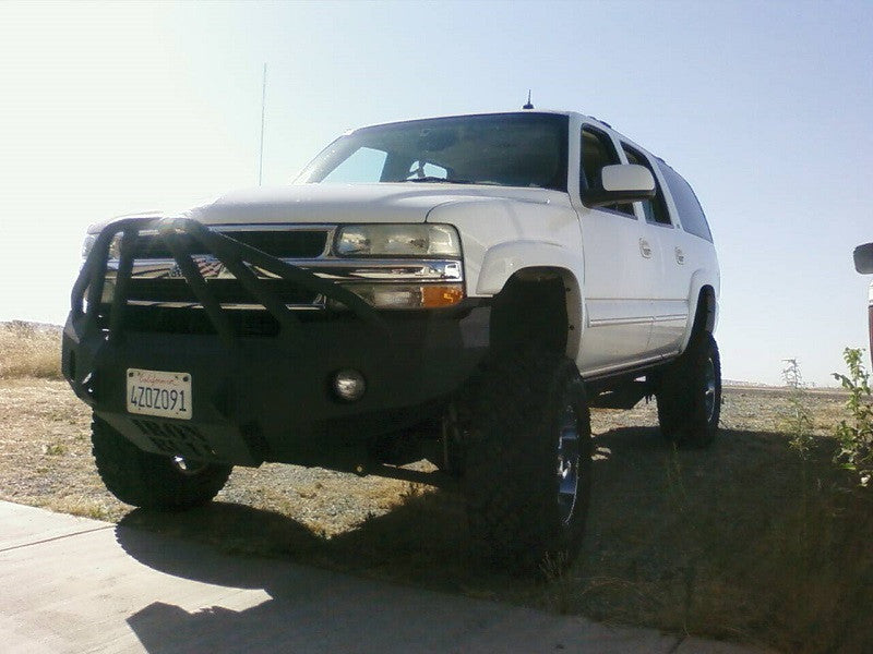 2001-2006 Chevrolet Tahoe Front Base Bumper (8 LUG ONLY) - Iron Bull Bumpers - FRONT IRON BUMPER - Metal bumper for heavy duty trucks Perfect for CITY/OFF-ROAD applications with Light Buckets and Winch Mount included